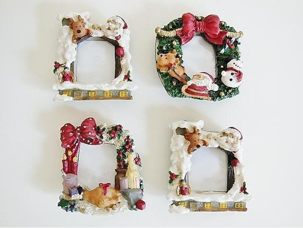 Christmas Theme Picture Frame Photo Fridge Magnet (Set of 4)