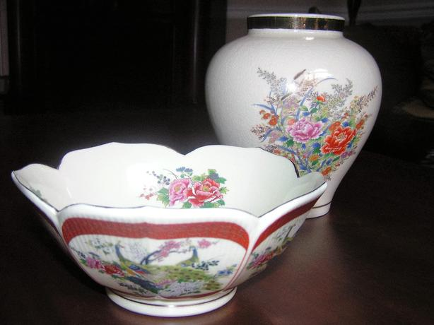 Vintage Japanese Vase and Bowl