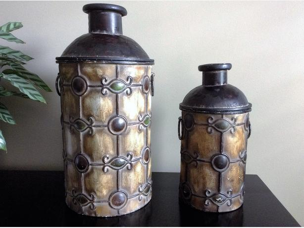2 Decorative Metal Containers