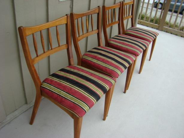 Four Solid Wood Vintage Chairs