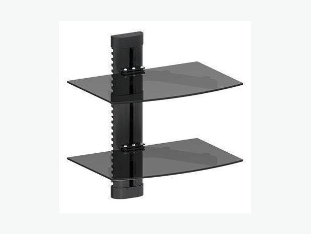 Double Glass DVD Wall Mount Shelf with Cable Management Max10KG/22Lbs