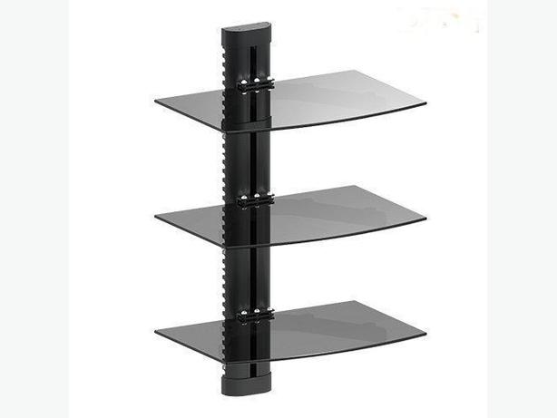 Triple Glass DVD Wall Mount Shelf with Cable Management Max10KG/22Lbs (NEW)