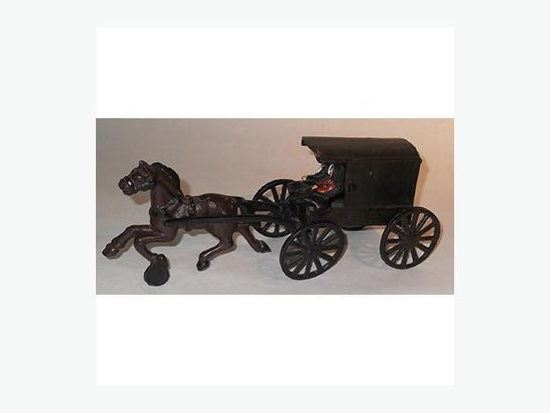 Vintage Cast Iron Horse Drawn Amish Family in Wagon