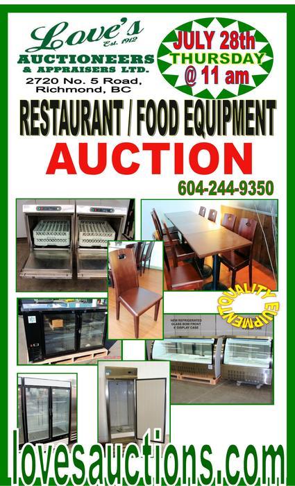 Massive restaurant food equipment auction thursday
