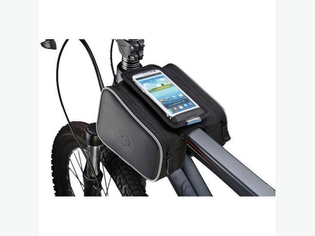 "Bicycle Bike Frame Double Pannier Phone Pouch Bag - 1.8L 5.5"" Screen - Black"