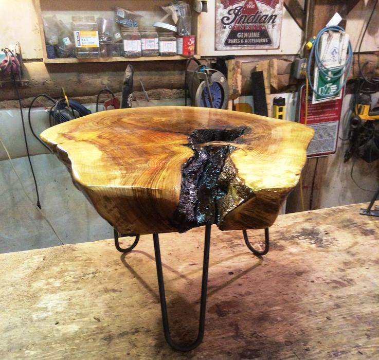 Live edge ash slab coffee table hairpin legs outside for Coffee tables london ontario