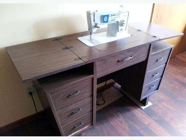 singer sewing machine with desk