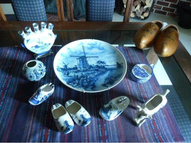 Collection of Delft Blue items from Holland