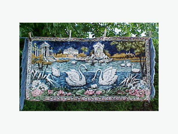 "Vintage Wall Tapestry with White Swans on Pond & Trees~ 19"" x 37"""