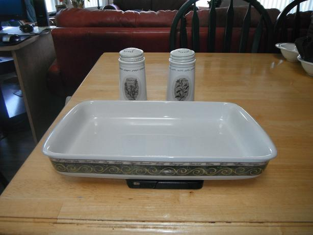 large salt & pepper & pasta  serving dish