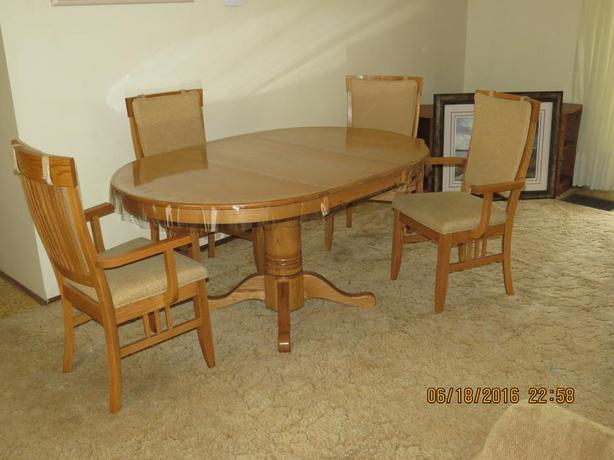 Solid Oak Pedestal Table and Four Shaker Arm Chairs