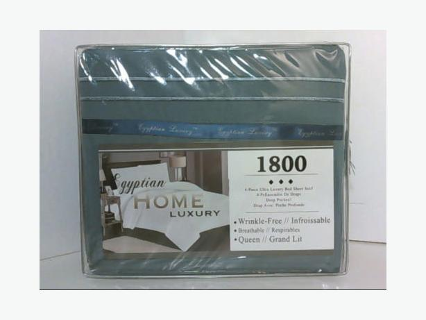 EGYPTIAN HOME 1800 ULTRA LUXURY 4PC QUEEN SHEET SET DEEP POCKET Blue Dusk