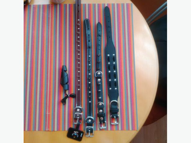 4 New Leather Spiked Dog Collars & Dog Whistle
