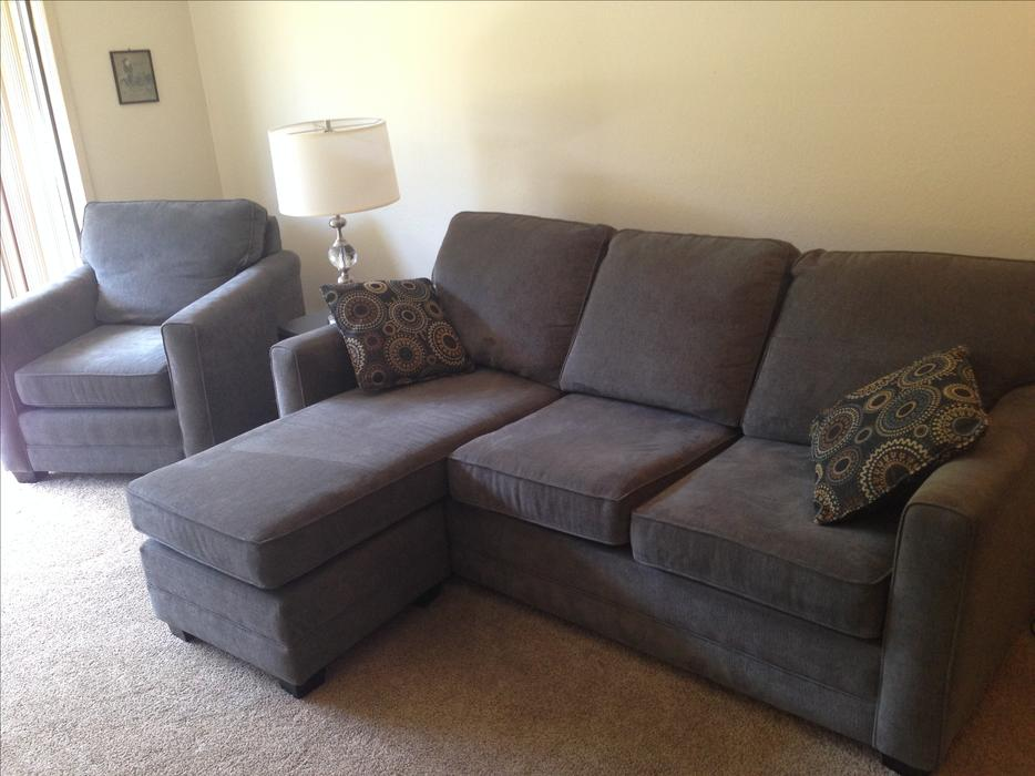 Simmons couch w sofa bed and matching chair with for Simmons sectional sofa with chaise