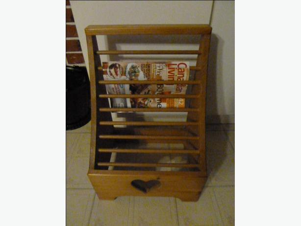 Beautiful pine storage chest and wooden magazine rack
