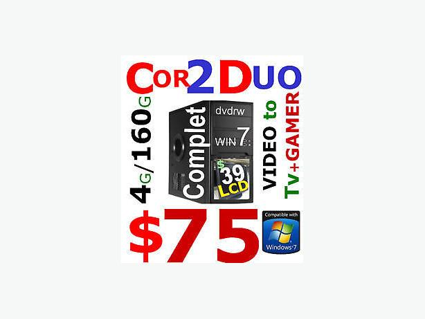 tower C2D 3ghz 4gb 250gb DVDRW hdmi WIN7  79$