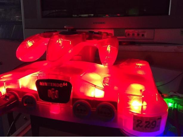 Modded LED Transparent red N64 system
