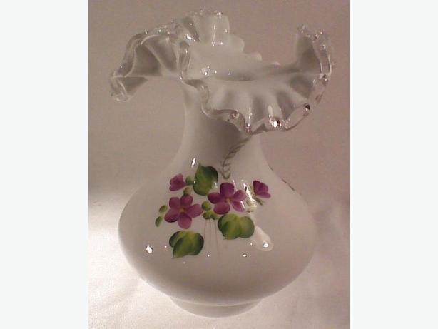 Fenton Silver Crest Violets vase
