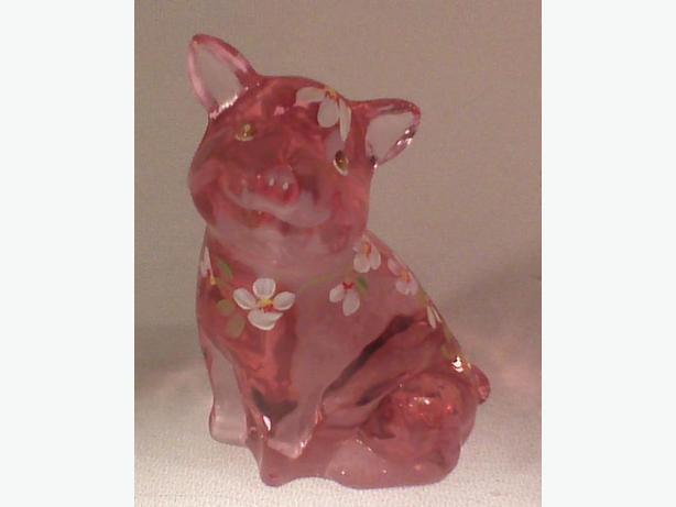 Fenton Lenox handpainted signed sitting pig