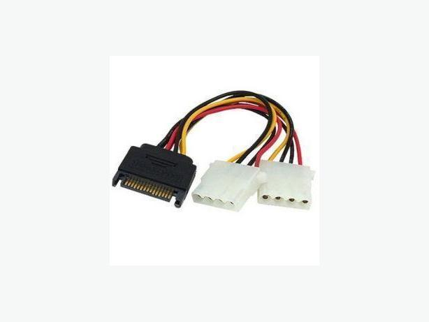 New Sata to IDE Molex splitter cable 15 Pin(M) to 2 4-Pin(F)