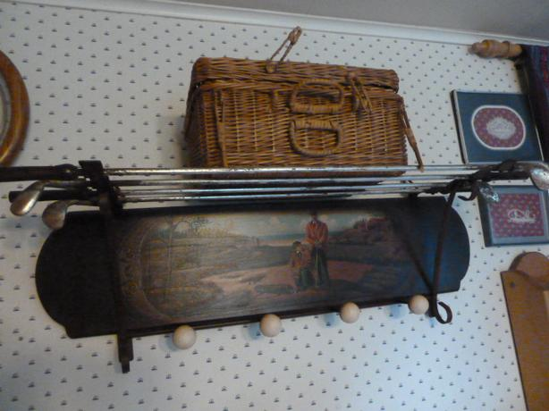Unique Wooden hand painted golf shelf and storage