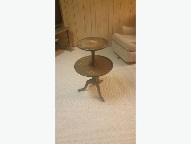 Antique round two tiered table