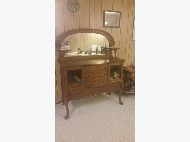 Antique hutch with mirror