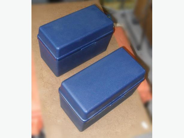 2 Like-New Strong Dark Blue Plastic File Boxes with Hinged Lids