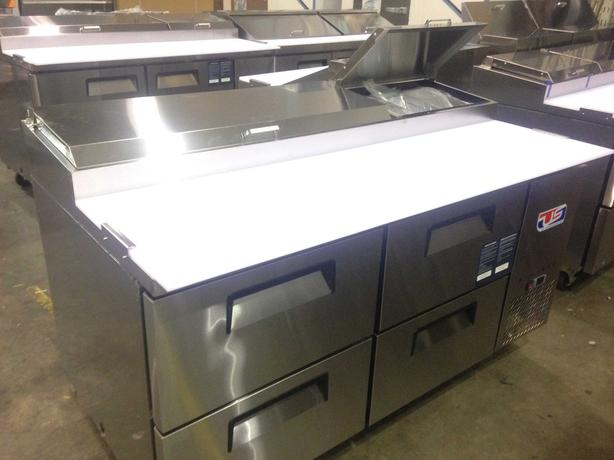 "US Ref Six Drawer 67"" Pizza Prep Table"