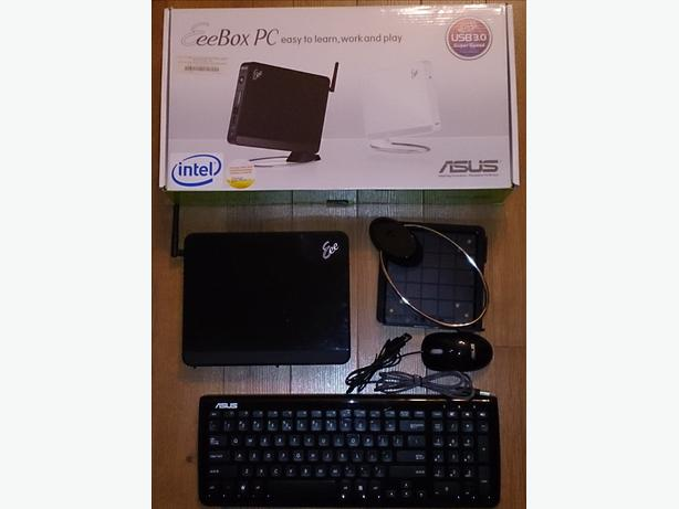 "ASUS EeeBox EB1012P computer, ViewSonic 27.5"" monitor and Diamond USB TV Tuner."