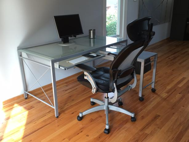 Modern STEEL and GLASS expanding DESK