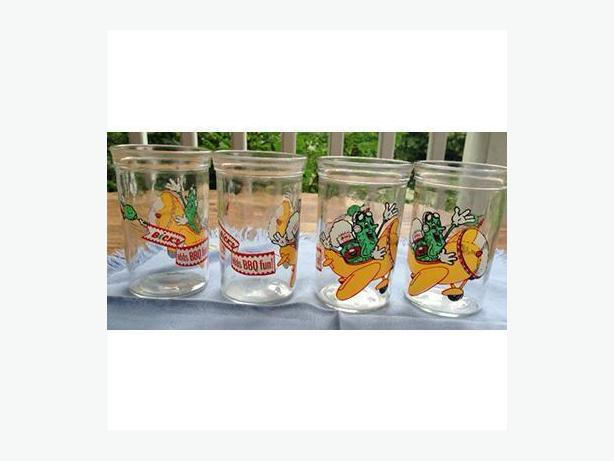 Four vintage Bick's pickle glasses