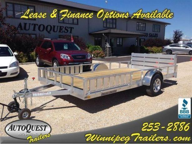 "2016 Stronghaul 82"" X 14' Rail Side Aluminum Utility w/ Side Ramp & Rear Gate"