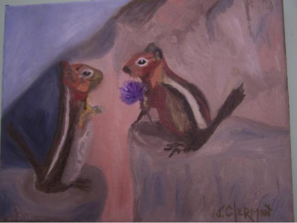 Chipmunks in Love, Canvas painting