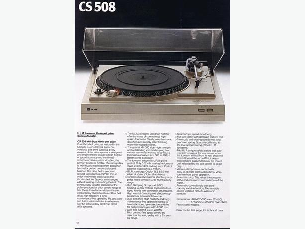 DUAL TURNTABLES: CS-505, CS-508, CS 515 With Covers