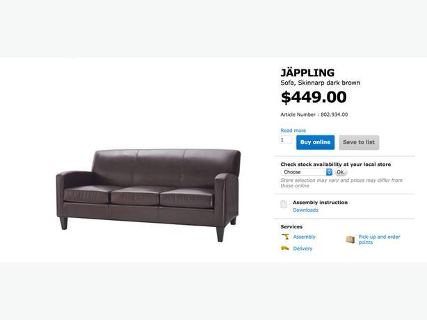 Sofa ikea jappling dark brown downtown toronto toronto for Ikea jappling chair