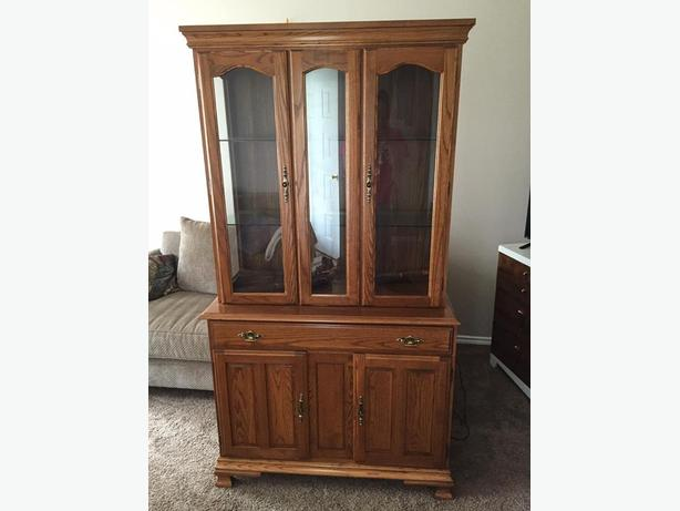 OAK CHINA CABINET $450 OBO