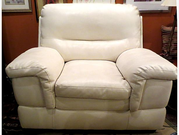 *Large Creamy White Leather Chair – Visa, MCard, Delivery