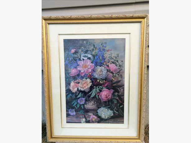 Flowers picture frame with glass top