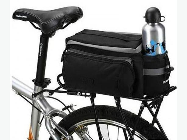 Bicycle Bike Rear Rack Top Bag w/ Shoulder Strap - Black