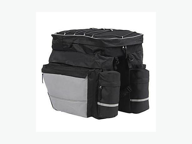 Bicycle Rear Rack Waterproof Double Pannier Bag w/ Rain Cover