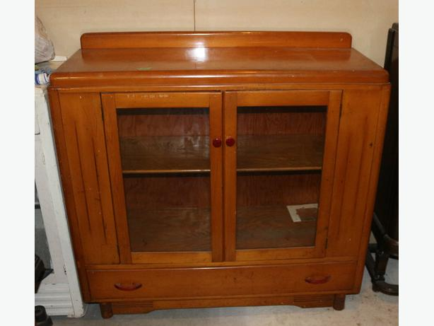 Art Deco wood Cabinet with glass doors
