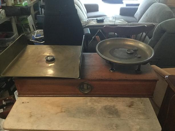 Antique Oak and Brass Scale