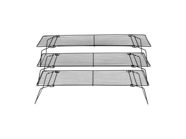3 Tier Stackable Cooling Grid Rack - Black