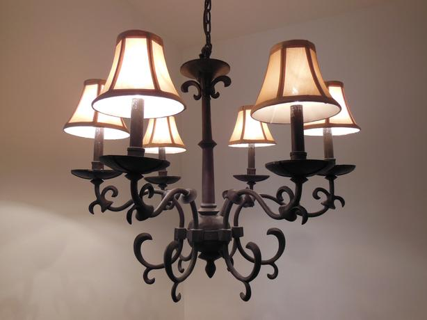 6-Light Dark Bronze Chandelier