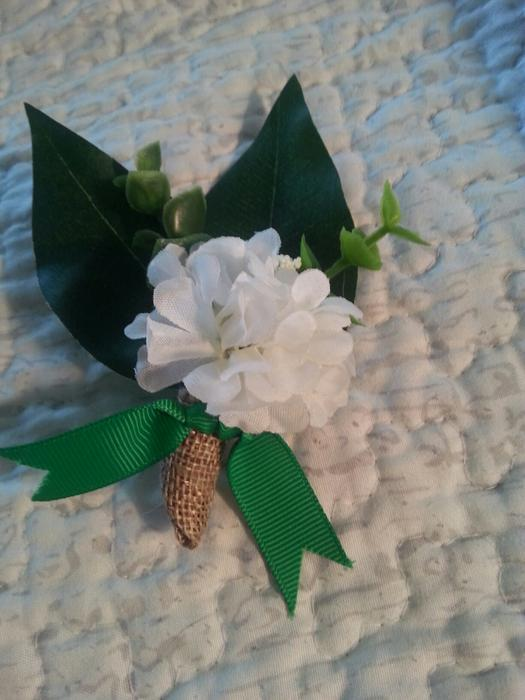 Wedding Bouquets Kamloops : Burlap boutonniere with artificial flowers for wedding
