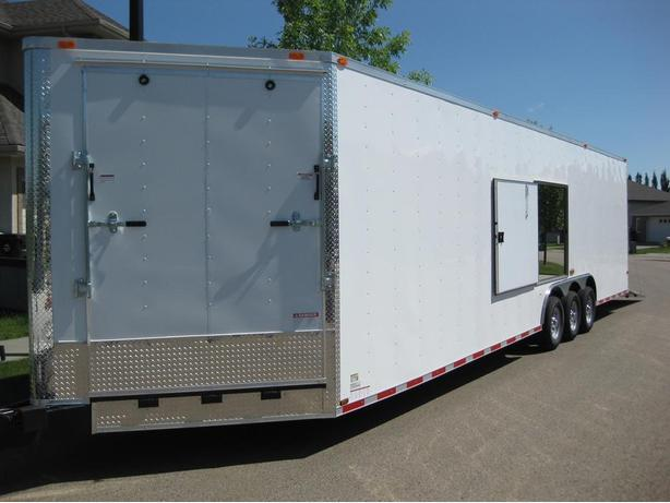 CYNERGY 8.5' X 32' plus 5' V-NOSE TRIPLE AXLE CARGO CAR TRAILER
