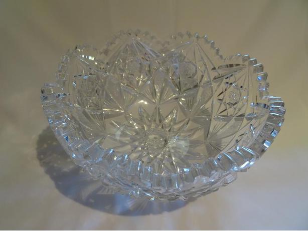 "Beautiful Antique Brilliant Period Cut Glass 8"" Hobstar Bowl"