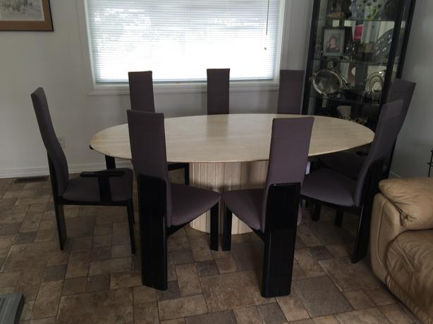 REDUCED!!!!! TRAVERTINE MARBLE AND BLACK LACQUER DINING ROOM SUITE WITH 8 CHAIRS