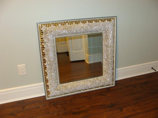 Large square framed mosaic mirror west shore langford for Big square wall mirror